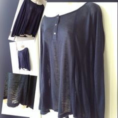Cooper Key XL Extra light weight blue top terrific to throw on as a off shoulder oversize top Tops