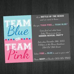 Gender Reveal Invitation Team Pink Team Blue by MemorableImprints, $10.00