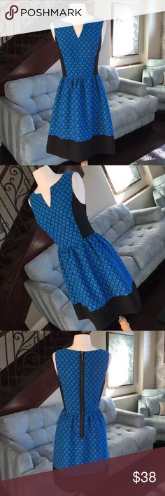 """👗🌷❤️Kensie adorable dress ♥ Gorgeous blue black pattern with amazing back zipper detail so comfy and cute on perfect condition length is 35""""♥ Kensie Dresses"""