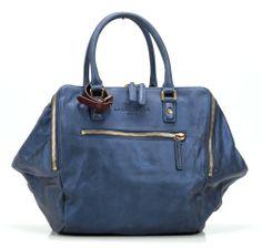 wardow.com - Tasche von Liebeskind, Metallic Suede Kayla Shopper Leder blau 32 cm
