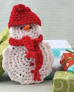 Free Crochet Snow Man Gift Card Cozy Pattern.