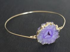 Lilac Geode Crystal Gold Bangle from LovePeach