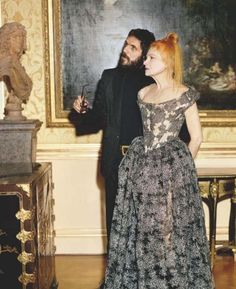 vivienne westwood gold label s/s 2012, vivienne westwood and her partner andreas kothaler in the billard room at the wallace collection for vogue uk