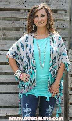 Fill My Heart Turquoise and Teal Ikat Kimono