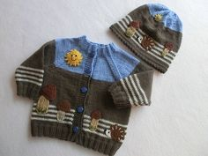 Sets - Babyjacke Babymütze HERBST Gr. 62-68 gestrickt - ein Designerstück von Juttas-ZauberStrick bei DaWanda