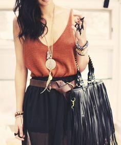 tassel bag and tie belt