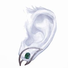 Sneak preview: The Phoenix wing collection symbolizes the freedom to be your true self. Feel free to choose your center stone! #emerald #interchangeable #earrings  #eartux #kavantsharart #bespoke #gems #diamonds #sketch