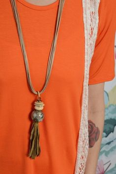 Natural Stone Tassel Necklace Set - The ZigZag Stripe - Women's Boutique  |  FREE shipping in the U.S. on all orders