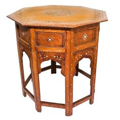 Octagonal Side Table with Inlay