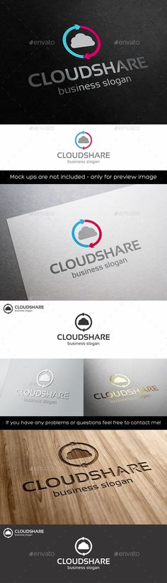 Cloud Share Logo Template – Cloud Cycle – Circulation – This logo design for cloud and social services company. It's perfect for cloud computing providers, virtual servers or other shared resources. A logo that can be used in social networks, team, groups