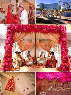 flowers drapery and candles all in one mandap