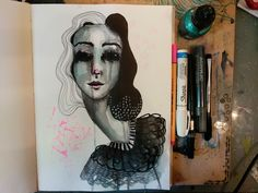 Cruella, created in inks and pens by Amber Button. #amberbuttonart