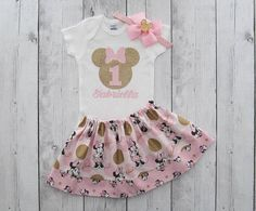 Pink Gold Minnie Mouse First Birthday Outfit, Minnie Birthday Party, Minnie 1 Shirt, Minnie Dress, Minnie Mouse Birthday Outfit for Baby Girl