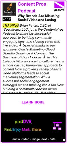 #TRAINING #PODCAST  Content Pros Podcast    Why Brands Are Misusing Social Video and Losing Customers    LISTEN...  http://podDVR.COM/?c=f2b0b419-324e-d503-92cc-548d218f221a