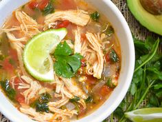 chicken & lime soup - So good!! I made this today & practically had to force myself to stop eating it. I used 4 frozen chicken breast, added 2 more cups of chicken broth, 1 cup of instant rice, and few more shakes of cumin and oregano. So good!!!!!