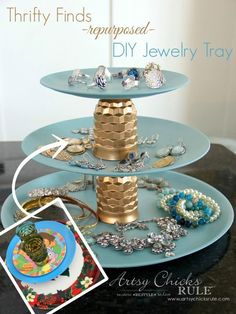 Thrifty Makeovers - Swap It Challenge - DIY Repurposed Jewelry Teired Tray - Old plastic plates and juice glasses repurposed into a 3 tiered jewelry tray! Dated mail organizer..updated...Easy!!! #repurposed #diy artsychicksrule.com