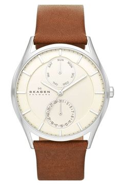 Skagen | Multifunction Leather Strap Watch, 40mm (Nordstrom Exclusive) #skagen #watch
