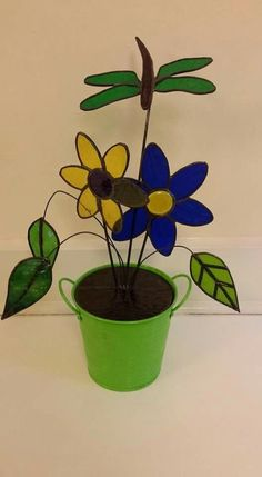 Flower pot stained glass decoration with dragonfly
