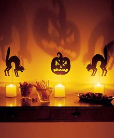 Halloween Decorating Tips. Use candles to cast eerie shadows across the walls.