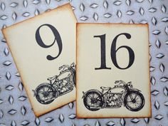 Motorcycle Table Number Cards Weddings Birthday Party by PapergirlStudios on Etsy https://www.etsy.com/listing/230486885/motorcycle-table-number-cards-weddings