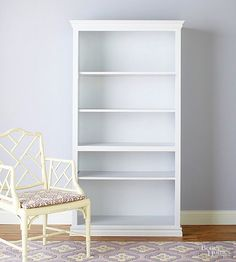Classic but cookie-cutter, a traditional white bookshelf holds so much more potential than its lackluster appearance lets on. A little shelf styling and pretty patterned paper are all it takes to punch up the plain furniture piece.