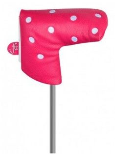 Just for Golf Knit Headcovers-Pink and White Dots Blade putter cover