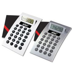 Product Name: Deluxe Desk Calculator Item DCMWJ1  Oversized, tilt-up display. Jumbo padded keys. Replaceable alkaline battery.  Price: $3.40 each (minimum qty. 50) Price includes one position laser engraving. Engraves white. FREE Set-up!. Gift boxed.   Email promo@personalpr.net to order. For more promotional products and marketing ideas, visit www.PersonalPR.net.