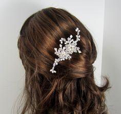 Pearl Flower Bridal Comb, Bridal hair comb, Wedding hair accessories, Bridal Headpieces, Rhinestone hair comb bridal. $26.00, via Etsy.