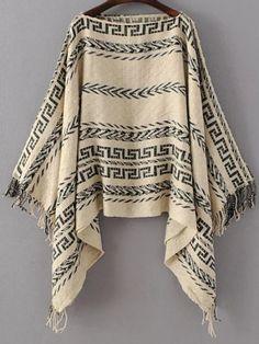 Jersey poncho de cuello barco con estampado tribual y flecos-Sheinside