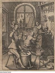 T K Metalarts  Etienne Delaune, Goldsmith's Workshop, an engraving showing the interior of a goldsmith's workshop in France, AD 1576  Engraving by Delaune (1519-1583) document the practice of sixteenth-century goldsmithing.