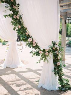 Garland and rose wedding arch: Photography: Diana McGregor - http://www.dianamcgregor.com/ Assistance: Lauren Guilford - http://laurenguilford.com/