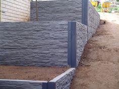 Concrete wall Construction - The Best Building Stone Retaining Walls Ideas. Concrete Sleeper Retaining Walls, Concrete Sleepers, Garden Retaining Wall, Stone Retaining Wall, Landscaping Retaining Walls, Gabion Wall, Front Yard Landscaping, Landscaping Ideas, Concrete Walls