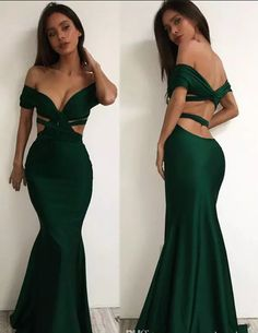 2017 New Off The Shoulder Dark Green Satin Long Prom Dresses Ruffle Cutout Floor Length Party Prom Evening Dresses,P1072
