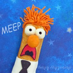 Beaker Twinkies are a Fun Muppets Treat | Golden sponge cakes are decorated with modeling chocolate to turn an ordinary snack cake into a lovable Muppets character.  @Hungry Happenings holiday recipes and party food