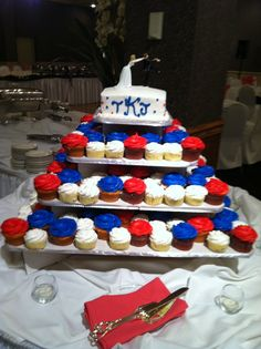 Red, white and blue cupcake wedding cake