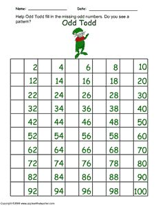 Christmas Math 100 Chart - Help Odd Todd fill in the missing odd numbers. Do you see a pattern? http://www.apples4theteacher.com/holidays/christmas/printables/odd-numbers-chart.html