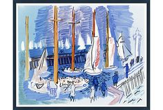 Sailboats, Côte d'Azur - A lovely painting of sailboats lined up along a harbor in France's Côte d'Azur. The rich blues of the sea and sky are echoed in the dress of the figures walking along the harbor. This is a fine print of the original, set in a dark-blue wood frame that complements the work.