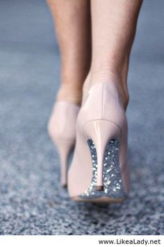 Nude heels with hidden glitter... I want to do this with our wedding shoes!
