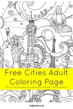 This cities adult colouring page is free to download and enjoy! Loads of great landmarks to colour from The One and Only Elephants Parade Colouring Book