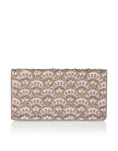 Accessorize Gift guide: Reimagine vintage glamour with this Art Deco-inspired clutch bag, embellished faux pearls and beads in a scalloped pattern. Fastened with a snap button closure, this luxe piece is perfectly-sized for formal event essentials. Carry it in hand or using the concealable shoulder chain.