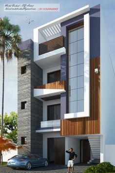 Modern Exterior House Designs, Modern Small House Design, Modern House Facades, Residential Building Design, Architecture Building Design, Facade Design, 3 Storey House Design, Bungalow House Design, House Outside Design