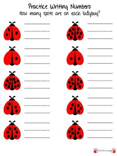 LETTER L Number-Writing practice. Have children practice writing numbers by counting the number of spots on each ladybug. Math Numbers, Writing Numbers, Preschool Kindergarten, Teaching Math, Teaching Numbers, Maths, Science Experience, Writing Practice, Math Classroom