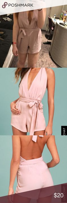 Blush romper Worn once! It's so comfortable and cute and didn't fly open throughout the night just stayed in place! I'm 5'9 for length reference and have 3 inch heels on in the picture Lulu's Pants Jumpsuits & Rompers