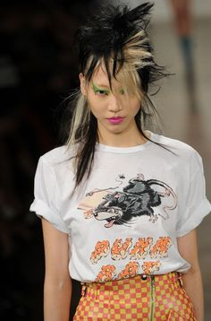 Fierce faux hawks for a rebellious, post punk look by Eugene Souleiman for Jeremy Scott AW13 #hair #fashion