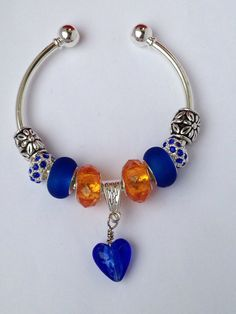 Blue and Orange College Colors Euro Bead by KrisJewelryBoutique