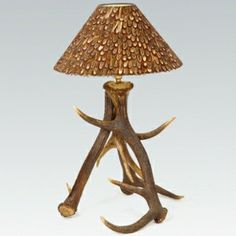 Antler Floor Lamp with Faux Leather Shade sale price £199.95 ...