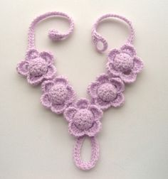 Hand Crochet Y-Shape Necklace Lilac Spring Flowers. $22.00, via Etsy.