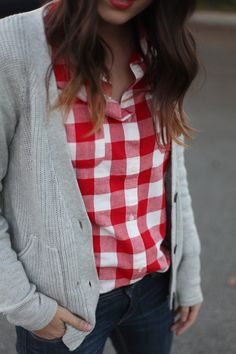 Plaid red buffalo cardigan grey gray dark wash jeans casual fall spring outfit