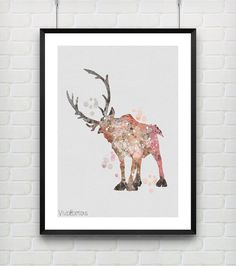 Sven Frozen Disney Poster Reindeer Watercolor Art Print by VIVIDEDITIONS