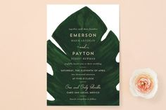 """""""Palm"""" - Destination, Floral & Botanical Wedding Invitations in Classic Palm by Kaydi Bishop."""